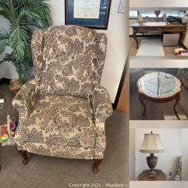 MaxSold Auction: This online auction features furniture such as a coffee table, side table, matching recliners, French-style loveseat, desk, lateral file cabinet, and more, whiteboard, HP printer, Hailer refrigerator, artificial palm tree and much more!