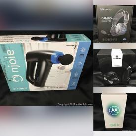 MaxSold Auction: This online auction features a Motorola G8, tablets, hair clippers, smart doorbell, laser toner and printer ink, power banks, lamps, candles, LED lights, handheld vacuum, massage tools, ring lights, active noise canceling headset, waist relaxing pillows, video game controllers and much more!