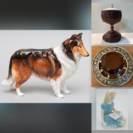 MaxSold Auction: This online auction features ROYAL DOULTON Figurines, Gold Stars, Musical Instruments, Reindeer Bell Collar, Clay Pipe, Vintage Victorian Spats, Vintage Silk, Decorative Swords, and Much, Much, More!!