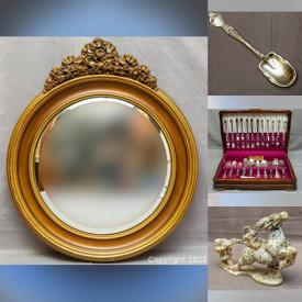 MaxSold Auction: This online auction features carved stone sculptures, Asian Cloissone enamel vase and plates, rare Noritake gold demitasse cups and saucers, Coalport and Aynsley, silver and sterling silver items, jade bangles, amber beaded necklaces, Waterford crystal and much more!