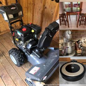 MaxSold Auction: This online auction features furniture such as a table, chairs, barstools, media console, Bauhaus sofa, upholstered chairs, china cabinet, shelving units, nightstands, dressers, cabinet, bed frames and more, wheelbarrow, Briggs and Stratton snowblower, string trimmer and other yard care tools, cooler, Dyson fans, Roomba vacuums, Casio keyboard, workout bench, exercise bike, lamps, curtains, Samsung TV, Kitchenaid stand mixer and much more!