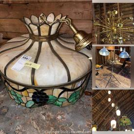 MaxSold Auction: This online auction features Metal & Glass Light Fixtures, Sconces, Chandeliers, Glass & Fabric Lamp Shades, Oil Lamps, Area Rugs, Antique Wooden Table, Stained Glass Light Fixtures, Lamp Chimneys, Lamp Parts, Metal Shelves, Vintage MCM Tables, Pole Lamps, Vintage Books, Decorative Brass Hardware, Chairs, Lantern Style Light Fixtures, Lamp Crystals & Beads, Oil Lamp Parts, Reclaimed Hardwood Pieces and much more!
