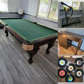 MaxSold Auction: This online auction features Pool Table, Treadmill, Yard Tools, Sports Equipment, Toys, Crystal Chandelier, Patio Furniture, and Much More!!