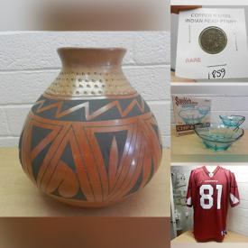 MaxSold Auction: This online auction features décor such as signed vase, Rex Valencia statue, glassware, and crystalware, sporting equipment such as an inflatable boat, collectibles such as vintage pins, Indian head pennies, sports cards, comics, buckles, stamps, and medallions, power tools such as Black & Decker and Ryobi, Halloween costumes and masks, and much more!