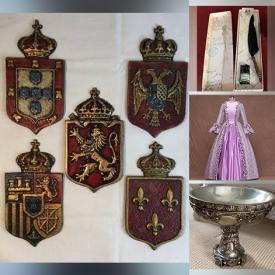 MaxSold Auction: This online auction features vintage hats, led candles, candle holders, cuckoo clocks, medallions, ball gowns, feather quill and ink, pedestals, Halloween costume and props, vintage shawls and much more!
