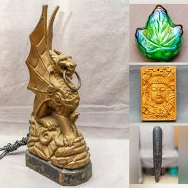 MaxSold Auction: This online auction features Wooden Mask Wall Carvings, Natural CARNELIAN Stone Bangles, Silver Rings, Coins, Sandalwood Plaque Pendant, Chinese JADE Carved Coins, JADE Bangles, Hand Carved Glass Snuff Bottle, Cast Iron Mythical Dragon Lamps, Blue/White Porcelain, Decorative Plates, Art Glass, Chinese Silver Dragon Pipes and much more!