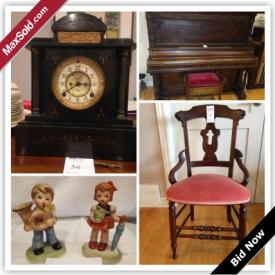 MaxSold Auction: This online auction features antique karn upright grand piano, collectibles, decors, artworks, furniture, tools and electronics such as royal doulton the old balloon seller, cuckoo clock, faber snowshoes, african art, apprentice chair and much more!