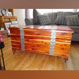 MaxSold Auction: This online auction features furniture, electronics, collectibles, rugs, artworks and decors such as couch and pillows, wooden chest, wooden tables, rocker recliner chair, wicker chair and tables, bed stand and much more!