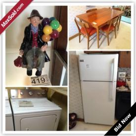 MaxSold Auction: This online auction features decors, furniture, collectibles, artworks, kitchen appliances, kitchenware and electronics such as vintage sofa bed, royal doulton figurines, sterling silvers, teak veneer table and chairs, beer steins, vilas coffee table and much more!