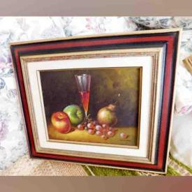 MaxSold Auction: This online auction features Signed Roset Oil on Canvas, Marble Table, Ceramic Planter, Hexagon Coffee Table, Wall Plate and Large Ship Wall Hanging, Pole and Swag Lamps, Plant Table and much more!