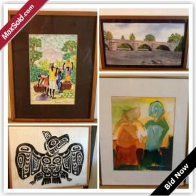 MaxSold Auction: This online auction features original art. Signed oil on canvas, oil on board, prints, a silkscreen, lithographs, an embossed screen print, a pastel, watercolours, a colored photo, vintage pine-up art and some antiques and much more!