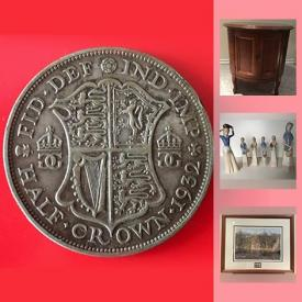 MaxSold Auction: This online auction features COLLECTIBLE: Sterling Olympics coins, currency and coins; Avon; bottles; spoons; plates; stamps; clocks; advertising; copper and brass; sports; ephemera. ANTIQUE: Books; framed photo. MID CENTURY: RCA Victor radio. ART: Paul Rankin signed/numbered print; African carvings. VINTAGE: Chairs; Mahjong set; Keystone 8 mm projectors. Silver plate and pewter. JEWELLERY: Costume, sterling, 14 K. CERAMICS and much more!