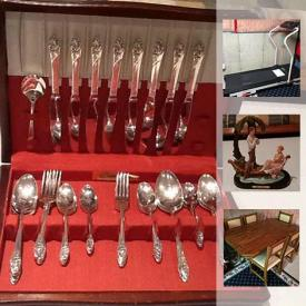 """MaxSold Auction: This online auction features FURNITURE: Rosewood wall unit; teak wall unit; patio; office; double Futon; two bedroom suites; Nobelton Fine Furniture custom solid oak kitchen table and six chairs. SILVER PLATE: Flatware. GLASS/CRYSTAL: Service for 16; lead crystal serving pieces; stemware; blown glass; punch bowl and glasses. CHINA: Mikasa """"Nurumi"""" bone china, Noritake """"Warrington"""" dish set; Christopher Stuart dishes. ART: Decorative mask; tapestry wall hangings; framed/signed. Proform treadmill. Ladies formal wear. Canon digital camera and much more!"""