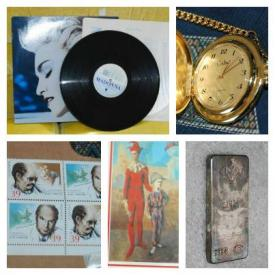 MaxSold Auction: This auction features pocket watches, music records, silver bars, pots and pans, Men's jackets, fireplace accessories, rattan shelving unit, luggage, rugs, Bissell vacuum, booster seat and queen bed!