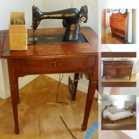 MaxSold Auction: This online auction features ANTIQUE: Victorian fainting couch; oak curio cabinet with bowed glass; cedar wardrobe. STERLING: Gorham and Stieff flatware; weighted candlestick; bangle bracelet. VINTAGE: Two piece wardrobe; Singer desk sewing machine; Underwood typewriter; pantry cabinet; oak buffet; table linens; Life and Look magazines; Cavalier cedar chest, cedar chest; oak secretary; quilt rack; wardrobe. ART: Watercolours, prints, posters, photo's, needle work; macrame. COLLECTIBLE: Oil lamps; 33 rpm records. CHINA/IRONSTONE: Munbreno Southwestern themed place settings for 4. FURNITURE: Lane cedar chest and much more!