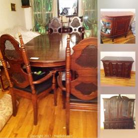 MaxSold Auction: This online auction features antique server, dining table with chairs, DVDs, circular desk, and much more!