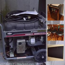 MaxSold Auction: This online auction features shelving units, books, fireplace equipment, flatware, ceramics, coffee presses, beach mats, TVs, scanner, mini-fridges, entertainment stands, pool table, CDs, cassettes, wet suits, heaters, power generator, charcoal grill, yard tools, power washer, painting supplies, tool boxes, gas containers, and much more!