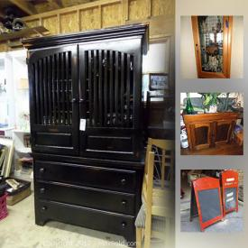 MaxSold Auction: This online auction features Antique Dry Sink, wedding dresses, wood table, Ginger Snaps Jewelry, Wooden rocking chair, Underwood Typewriter, coffee table, Mickey dancing doll, Commercial Steam Table, Murphy bed, Wood Student Desk, china, Vintage Wall Mirror, Fat Tire Neon Bar sign, and much more!