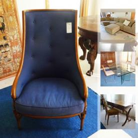 """MaxSold Auction: This online auction features furniture including an all-glass dining room table, leather recliner, antique writing desk and chair, sectional sofa and IKEA Billy bookcases; decor including Asian and Indian tapestries, Dhurrie carpet from India and area rugs; exercise equipment including a Sole treadmill, Parabody weight machine, Nordic Track, weights and an exercise bike. Other items include a projector screen, luggage, LG 43"""" Smart TV, pottery, garden tools, extension ladded, Cuisinart blender, Krups coffee maker and much more!"""