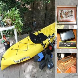 MaxSold Auction: This online auction features furniture, rugs, electronics, office supplies, artwork, books, musical instruments, kitchenware, kitchen appliances, kayak and much more!