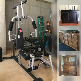 MaxSold Auction: This online auction features a Acorn chair lift, electric lift chair, wheelchairs, home medical equipment. Two electric fireplaces. Xbox and Xbox 360 with games. FURNITURE: Three dining table, chairs and benches; bedroom - dressers, chest of drawers, desk; unusual mirror set in saddle leather. Gold's Gym weight machine, Bodytrac rower. Golf Clubs. Pool stick bags and much more!