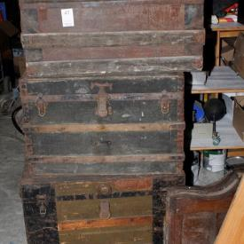 MaxSold Auction: This auction features water sport tubes, wood frame windows, china cabinet, Craftsman band saw, casket boxes with caskets, electric heater, blow up soccer field, television stand, embalming portable kit, folding black chairs, wood barrels, printer and rocker recliner!