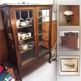 MaxSold Auction: This online auction features ANTIQUE: Wind up toys; gramophone; iron and stand; ice box; chandelier parts; hand tools; Bulova barometer. FURNITURE: Vintage oak sideboard; antique tiger oak sideboard; antique display cabinet; antique school desk; Knetchel Furniture Co. dining table and 2 chairs; Lionel Rawlinson single headboard; 2 brass headboards; his and hers upholstered arm chairs. SHOP TOOLS/HAND TOOLS. Automotive. Lawn and Garden. Sewing machines. Quilting rack. Maple syrup boiling pans and much more!