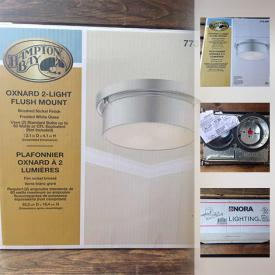 MaxSold Auction: This online auction features all new lighting fixtures and hardware and includes recessed light fixtures, outdoor lights, ceiling fixtures, chandeliers, wall sconces, an exit sign, emergency lights, pendant light and much more!