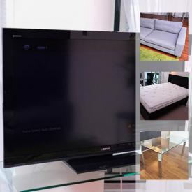 """MaxSold Auction: This online auction features Sony 46"""" Bravia, kitchen appliances, lamps, furniture, household appliances, kitchen supplies, dishes, kitchenware, artwork and much more!"""