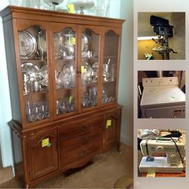 """MaxSold Auction: This online auction features SHOP TOOLS: Complete shop for sale - drill, saws and many more power tools. FURNITURE: Dining - French Provincial china cabinet, buffet; 40 """" round table. Living Room - Sofa and chair; Bedroom - Dresser with mirror, queen bed. FURS. CRYSTAL/GLASS - including red glass. SILVER PLATE - including a Birks covered dish. CHINA: Noritake. Sewing machines; office equipment. APPLIANCES: Concept II washer, Inglis dryer. Golf, fishing and much more!"""