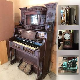 MaxSold Auction: This MaxSold Manassas, VA estate sale online auction featured RAILROAD MEMORABILIA: A station agent's cast iron wood burning stove; phone; keys; clocks; timetables; silver serving pieces, antique lanterns and much more! ANTIQUE: Estey pipe organ; Singer treadle sewing machine in cabinet; spool box; loom parts; stereo scope. VINTAGE: Large weights and scale collection; cameras and projector's; eyeglasses; logging tools; headboards and footboards; roll top desk; high chairs; paper roll holder; table and chairs; hand tools; sled; oil lamps including a milk glass shade; large collection of silhouette pictures; icebox; oil cans.RETROFITTED: Western Electric and Kellogg candlestick phones turned lamps! FURNITURE. and much more!