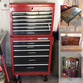 MaxSold Auction: This online auction features shelves, flat screen TVs, exercise bike, sewing machine, phones, printer, speakers, lamps, office supplies, books, stereo equipment, decorations, wine glasses, outdoor furniture, tools, wall art, power tools, tool boxes, wheel barrow, and much more!