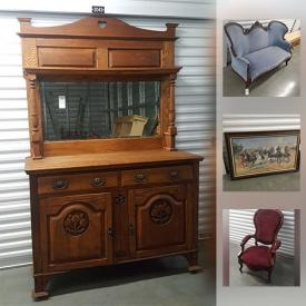 """MaxSold Auction: This online auction features VINTAGE: Oval pie crust table, Victorian love seat; couch; English oak sideboard; oak pedestal table with 5 leaves; wooden rocking chairs; leather armchair; travel trunks. CHINA: 119 pieces Royal Doulton """"Old Leeds Sprays"""" ; 63 pieces Haviland Limoges; 52 pieces and more of vintage china including Limoges and Majolica; tea cup sets. STERLING AND SILVER PLATE: Reed and Barton coffee and tea service; flatware; serving pieces. ART: Thomas Kincaid and Frederick Remington prints with COA'S; framed photo's and much more!"""