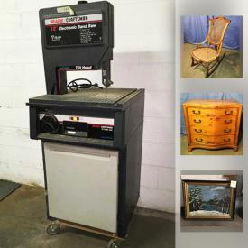 """MaxSold Auction: This online auction features STERLING SILVER: Weighted serving pieces. VINTAGE: Tools; Furniture - 20's chifforobe, 30's dressers and bed, vanity chair; 33/45 rpm records; aluminum trivets; Pyrex; old wooden box. HANDMADE: Quilts. ART: Original, framed prints - including a Peter Max. CRYSTAL: Waterford. CHINA/CERAMIC: Royal Haegar bowl, Will George signed flamingos, Russel Wright pitcher, Sarah Conventry """" Old Rose"""" 24 piece dish set, tea cup sets. Costume jewelry. And more!"""