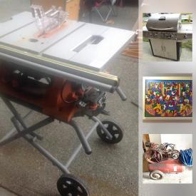 MaxSold Auction: This online auction features a SHOP TOOLS: Ridgid table saw, jigsaw, bench grinder, tile saw, cutters and supplies; Air-O-Matic compressor; electrical and plumbing supplies. Bowflex Threadmaster. Bicycles; camping; Golf clubs and cart. YARD AND GARDEN: Including LED Eiffel Towers. Honeywell and First Alert fire safes. ART: Dominican Republic and Peruvian; Vintage by HB Telfer; seashell art; signed and numbered by Rob Dunfield painting. COLLECTIBLE: Blue Mountain Pottery. CHINA: Tea cup sets; Paragon, Tuscan, Midwinter, Ridgeway and Delft and much more!