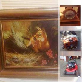 MaxSold Auction: This online auction features candle holders, jewelry, electric key board, figurines, model ship boats, statues, wall art, camera, men's and women's clothing and accessories, DVDs, computer, china, lawn mower, and much much more.