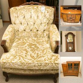 MaxSold Auction: This online auction features vintage wood furniture, glass top coffee and end tables, decor, tapestry wall hanging, art glass vase and bowl, antique New Domestic sewing machine, Christmas tree and stand, vintage console stereos, Underwood typewriter, 1969 Pontiac fender skirts and much more!