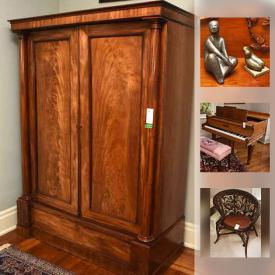 MaxSold Auction: This MaxSold downsizing online auction featured A Heintzman grand piano and bench covered in tapestry. ANTIQUE: Burled maple front armoire; Mahogany china cabinet; turquoise pressed glass cruet set with triple plate stand, VINTAGE: Brown wicker/wood chair; round pedestal side tables; pedestal dining table; oak occasional table. FURNITURE: Ethan Allen bedroom; modern glass with double pedestal dining table; Bernhardt table/desk; armoires; church pews; china cabinet; pine cabinet assembled with square nails and more! ART: Two limited edition prints by Rosyln Swartzman; Charcoals by Susan Menzies; original watercolour by Gardner; numbered prints by artists Allen Smutylo and Terry McDonald; bronze figures and much more! What a find!