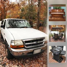 """MaxSold Auction: This MaxSold Brandywine Estate Sale online auction featured a 1999 Ford Ranger XLT. Kraukauer upright piano and bench. Italian slate pool table. Rocky slot machine. FURNITURE: Several sofa's including a sleeper sofa and a Haverty's sectional; many easy and recliner chairs; dining room table and six chairs, Pure Simple china cabinet and buffet; bakers rack, kitchen buffets and matching table and six chairs; office; Vaughan Bassett queen bed, nightstands, dresser; chaise; American Signature California King bed, nightstands, chest of drawers, dresser and armoire. ELECTRONICS: Fireplace with mantle; Crosley turntable; Curtis Karaoke; Sony stereo; Wii console. ANTIQUE: Singer sewing machine; SAD irons. VINTAGE: Singer sewing machine; tin toys. EXERCISE EQUIPMENT. CHINA: Mikasa """"Solitude"""" place settings for 8; Lenox clock and much more!"""
