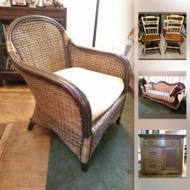 MaxSold Auction: This online auction features furniture such as Hitchcock chairs, dovetailed oak cabinet, camelback parlor sofa, and steamer trunk, silver and sterling silver jewelry, kitchenware, electronics such as Garmin GPS, Cycleops bike trainer, and much more!