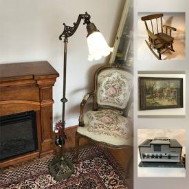 MaxSold Auction: This auction features Douglas Kirkland signed photograph, 20 Century Asian Jar, Andy Warhol Lithograph, Inuit Soapstone Sculpture, Cast Iron Horses and Wagon, Vintage Metal Musical Box, Leather Jacket, Green Pyrex Bowls, Antique Floor Bridge Lamp and much more!