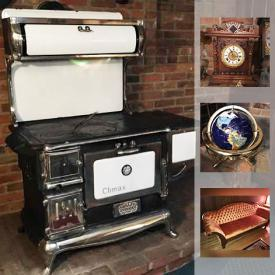MaxSold Auction: This online auction features Guelph wood burning stove, fireplace tools, copper kettles, crystal, blanket box, antique wardrobe, JVC micro component system, tools, china, View Master, Royal Majestic record player, Trisha Romance art, stained glass fireplace screen, Victorian style sofa and much more!