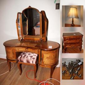 MaxSold Auction: This online auction features Czech Crystal, Kahla china, Day bed, Vanity, luggage, tea service, Die cast Airplanes, and much more!