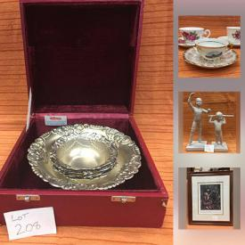 MaxSold Auction: This online auction features a silver plate tea set, plus more. CRYSTAL/GLASS: Cross and Olive; Waterford clocks; Avon red goblets; Fire King milk glass mugs. Russian lacquer ware tray and egg cups. ART: Paul Tracy picture. Black and whit photo's. COLLECTIBLE: Misty mountain decorative plates, plus more; Disney; Coca cola; thimble collection; Precious Moments and more! CHINA/STONEWARE: Tea cups sets; royalty; brown glazed stoneware and more! HANDMADE: Cross stitch. VINTAGE: Chrome canister set; suitcases; insulators and much more!