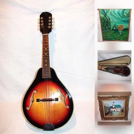 MaxSold Auction: This online auction features ANTIQUE: Hand carved walnut table; copper pot; enamel vanity items; violin; pocket watches; 2 mother of pearl British cutlery sets; LP's; postal scale; writing slope box; beaver top hat and more! VINTAGE: Sewing box; mandolin; cuckoo clocks; letter opener collection; WWII items; 3 stag horn carving sets; metronomes. ART: Oils - including antique; professional folding easel; antique etching. STERLING SILVER - including Tiffany. Bronze. Ladies white fox. Cameras and much more!