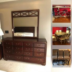 MaxSold Auction: This online auction features La-Z-Boy Chaise With Throw Pillows, Bianchi Bicycle, Wood Night Stand, King Bed Frame, Wooden Cabinet, Vintage Domestic Sewing Machine, Wicker Like Bar Stools, Framed & signed arts, Dining table & chairs and much more!