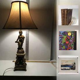 """MaxSold Auction: This auction features Wood Sculpture, Art-Deco Style Bronze Sculpture, Norval Morrisseau Book, James A. Houston Colour Lithographed print, Hiroshige """"Toyokawa bridge"""" Original Woodcut, Harley Davidson Book, scale and much more!"""