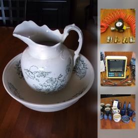 MaxSold Auction: This online auction features VINTAGE: Wash basin and pitcher; size 9 bean pot. CHINA/STONEWARE/CERAMICS: Cottage blue dishes; 52 piece Wallace China dish set; many serving pieces. COLLECTIBLE: Sports; stamps; Disney. TOOLS and much more!