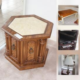 """MaxSold Auction: This online auction features FURNITURE: Dining room, living room, kitchen table and 4 chairs, bedroom, patio. Sony flatscreen TV and Toshiba DVD player. CHINA: Paragon """"Remember Me"""" place setting for 12; Gabbay dish set. CRYSTAL/GLASS: Stemware. and more!"""
