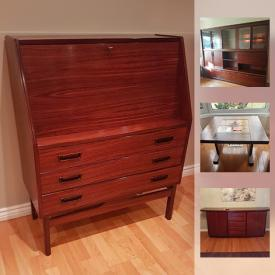 MaxSold Auction: This online auction features FURNITURE: Mid-century modern rosewood dining table, sideboard, side tables, shelving/wall unit. Rosewood - grandfather clock by Huan Jun, wall unit, Danish secretary. Teak pieces and more! ART: Eagle and owl sculpture; Paul Rankin prints. EXERCISE EQUIPMENT and much more!